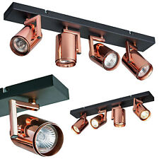 Cole 4 Way Copper GU10 Spot Bar Ceiling Light Fitting Spotlight Kitchen 240v