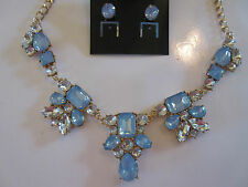 Necklace Earring Set Opal Blue Rhinestone Clusters Beautiful Gold Finish NWT G85
