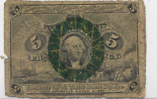 SECOND ISSUE FIVE CENT FRACTIONAL CURRENCY