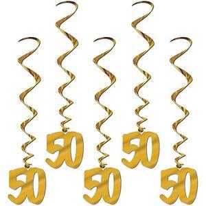 Gold 50th Whirls (5pc pkg)  BIRTHDAY OR ANNIVERSARY DECORATION