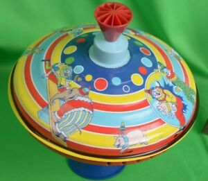 Schylling Toys VINTAGE circus Spinning Top Bright Colorful Metal 1998 Tin Litho