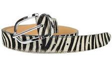BELLI® ital Echt Fell Ledergürtel Wechselgürtel schwarz weiß Leder zebra 108cm