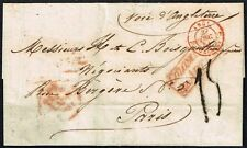 361 MARTINIQUE TO FRANCE PRE PHILATELIC FOLDED LETTER 1851 VIA UK ST. PIERRE !!