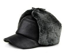 Men Winter Warm Leather Bomber Hats Russian Cap Trapper Aviator Trooper Faux Fur