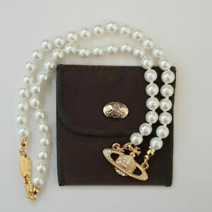 Vivienne Westwood Mini Bas Relief Pearl CHOKER Necklace with Gold Orb