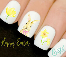 Easter Watercolour Bow Bunny Nails Nail Art Decals Water Transfers Stickers V23