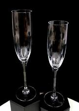 """ORREFORS SIGNED CRYSTAL 2 PC OPTICA SYMPHONY CLEAR 9.5"""" CHAMPAGNE FLUTES 1987-"""