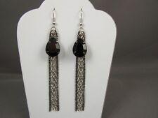 """4"""" long fringe earrings Silver Grey multi chain dangle"""