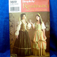 Simplicity 3809 Costume Renaissance Layered Dress 2 Looks SEWING PATTERN 16-20