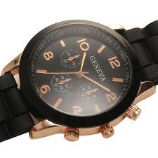 Classic Black Elegant Women Quartz Wrist Watch Analog Sport Rubber Band relogios