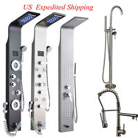 Stainless Steel Shower Panel Waterfall Rain Massage Jets Tub Hand Shower Faucet