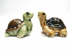 Lot 2 Turtle Animal Ceramic Small Figurine Miniature Decor Home Collectible Gift