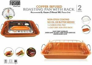 2 Pcs Non Stick Copper Infused Roasting Pan with Rack Grill Roaster Meat Food UK