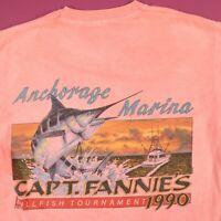 Vtg Sun Faded 90s Anchorage Billfish T-Shirt M Fruit of the Loom USA Alaska SS