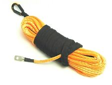 1/4''x50' Synthetic Winch Rope Line Orange Recovery Cable 10000LB 4WD SUV Pickup