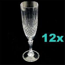 12 Premium Clear Plastic Reusable Champagne Flutes Wine Drink Glasses 210ml