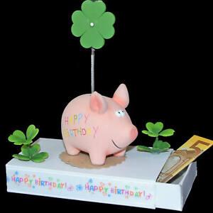 ღ Geld Geschenk Schachtel zum Geburtstag  ღ Schwein Happy Birthday Geschenkbox