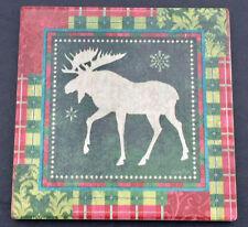 Christmas Moose & Holiday Plaid Single Absorbent Stoneware Coaster