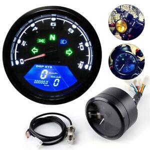 Digital Motorcycle Odometer Speedometer LCD Tachometer Gauge Waterproof UK