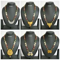 Indian Fashion Gold Plated Bridal Jewelry CZ Traditional Necklace Pendant Sets