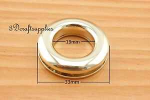 eyelets metal screw on eyelet grommet alloying light gold round 6 sets 19 mm G57