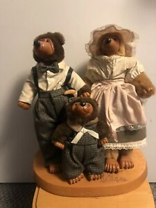 "Robert Raikes The Three Bears Wooden Carved Papa Mama Baby Figures 12"" VGC"