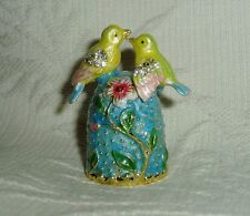 Russian Сollectible Handpainted Decorative Enamel Thimble Two Birds. Spring Love