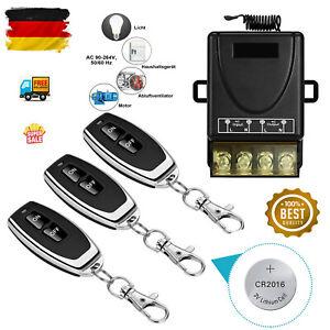 230V AC 2000W Wireless Licht Schalter Funkschalter 30-70m mit 3 Fernbedienung DE