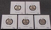 1966 1967 1968 1969 1970 Australian Uncirculated Five 5 Cent Coins Ex RAM ROLLS