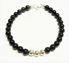 Black Onyx Gemstone Bead Bracelet with Sterling Silver Beads, 7.5 Inch in Length