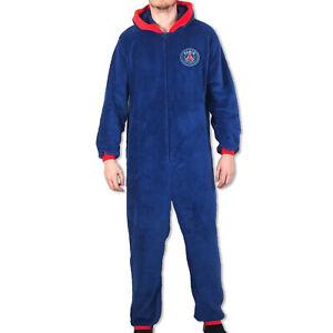 PSG Mens Pyjama All-In-One Hooded Sleepwear OFFICIAL Football Gift