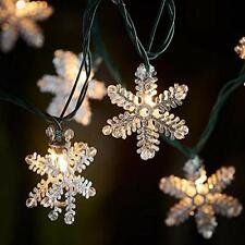 10ct Snowflake Glitter Silver String Lights Christmas Tree Lights Indoor/Outdoor