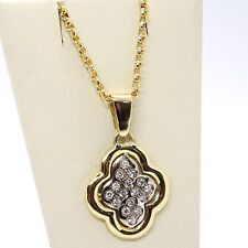 18K YELLOW & WHITE GOLD NECKLACE WITH DIAMONDS CROSS ROUNDED PENDANT
