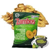 Zambos Plantain Chips with Green Salsa. Crunchy Taste.(Single) 5.46oz,155g