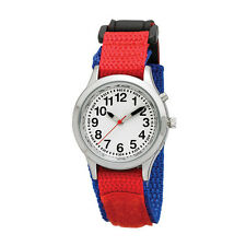 Ladies / Kids Talking Alarm Watch: Blue and Red Strap - Choice of Voice