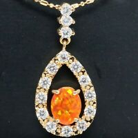 Oval Orange Fire Opal Necklace Women Anniversary Jewelry 14K Rose Gold Plated
