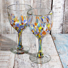 Recycled Mexican Blue Confetti Wine Glass x 2