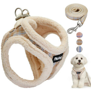 Fleece Small Dog Harness with Leash Warm Step-in Dog Vest Jacket for Puppy Cats