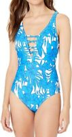 Athena Womens Swimwear Blue Size 14 Floral Plunge One Piece Swimsuit$198 512
