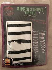 Halloween Ripped Black & White Striped Tights New Rubie's FREE SHIPPING