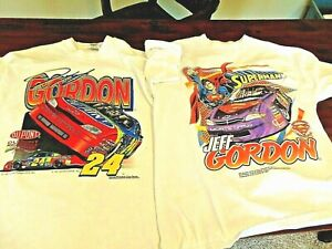 2 RARE vintage NASCAR t shirts 1997 JEFF GORDON + 1999 SUPERMAN size L LARGE