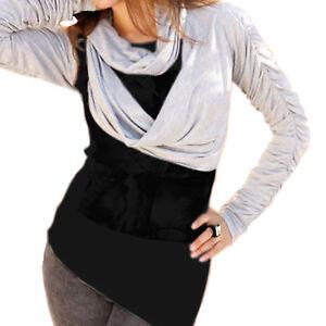 ausgefallene Shirtjacke BOLERO mit Schal LOOP GRAU ORIGINELL Jacke Gr.36/38 S/M