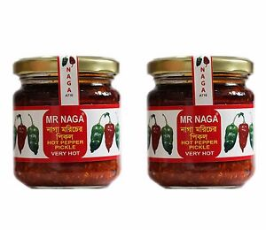 Mr Naga - 2 jars 190g each  Naga Pepper Pickle, Naga Chilli Sauce, Ghost Pepper