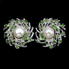 Deluxe Round 7mm Creamy White Pearl Chrome Diopside 925 Sterling Silver Earrings