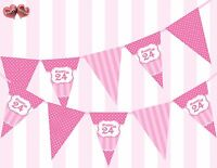 Perfect Pink Happy 24th Birthday Vintage Polka Dots Stripes Theme Bunting Banner