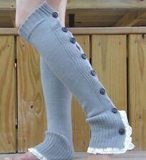 Women Knit Flat Lace Trim Button Down Crochet Leg Warmers = GRAY = 1 PAIR