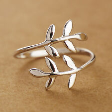 925 Sterling Silver Lovely Leaves Branch Adjustable Ring size 5.5 A3207