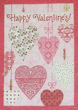 "Happy Valentine Quilt Top Fabric Pink Panel by Moda 13.75"" x 19.75"" plus 1"" seam"