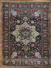 Antique c1900 Very Fine Hand Knotted Silk Jewel Medallion 5'x 6' Oriental Carpet