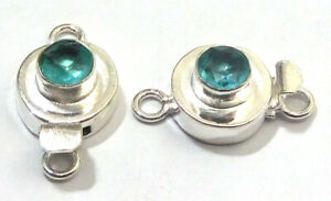 5 PC ROUND BLUE TOPAZ BOX CLASP 1 STRAND STERLING SILVER PLATED 751 HSW-683
